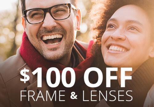 $100 Discount on designer frames/lenses through December ...